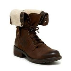 Steve Madden brown leather faux fur combat boots
